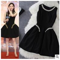 Europe style black ball gown dress 2015 new fashion spring autumn sleeveless diamond o-neck cute wear show thin dress F0950 HOT