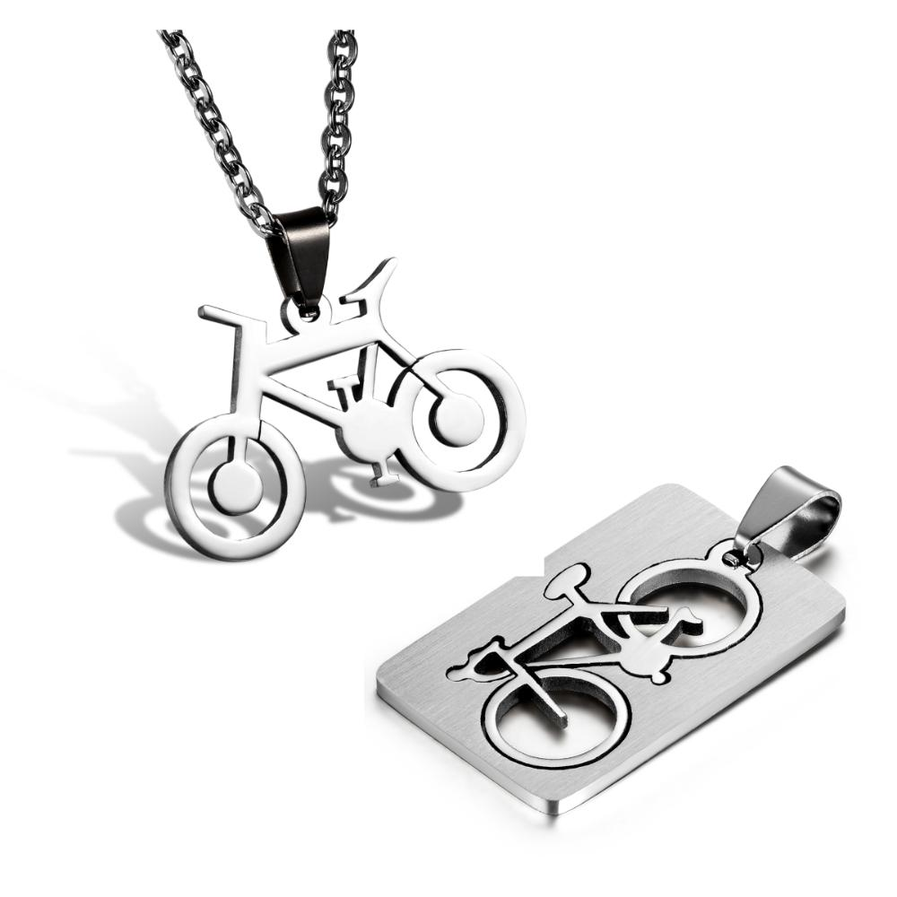 2015 Fashion jewelry Quadrate Bicycle Pendant 316L Stainless Steel Necklaces Bike Mens Necklaces Couple Necklaces 55cm Chain(China (Mainland))