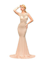 robe de mariage 2015 vestido longo festa noite Deluxe Mermaid Style Lace Hollow outs Maxi Formal Evening Dress Gowns LC60043