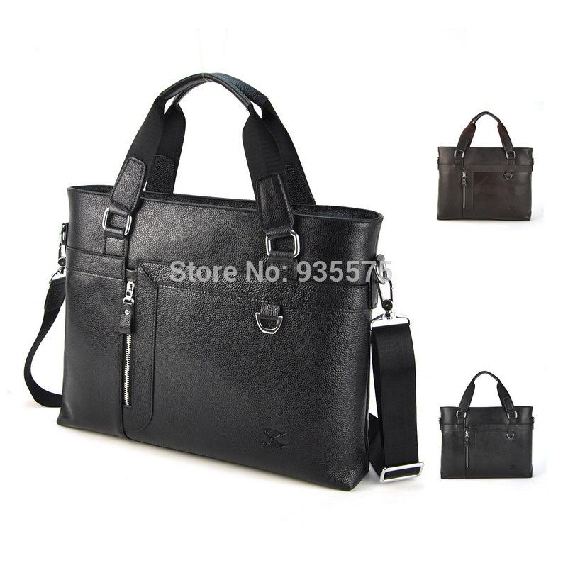Men 100% Genuine Real Cow Leather Briefcase Laptop Shoulder Messenger Cross Body Bag Work Business Portfolio Top Handle Case(China (Mainland))