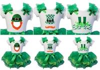 Green Lime Petal Tutu Plus St. Patricks Day Green Polka Dots Leprechaun Shoes Hat Mustache White Short Sleeves Tee