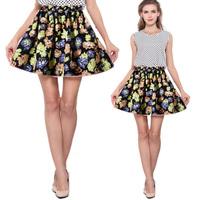 New Fashion Women Pleated Floral Short Mini Skirt High Waist Skater Flared SkirtFree Shipping