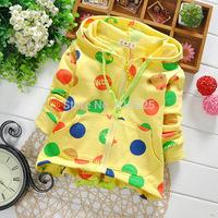 New 2015 Children Spring Clothing Girls Sweatshirts Baby Boys' Hoodies Polka Dot Bear Children Hooded Top Wear