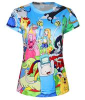 New Fashion Funny Adventure Time Summer Women's 3D T-shirt Printed Top Tees Tshirt Cartoon Women T shirt