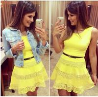 Yellow lace dress 2015 new summer woman Sleeveless cute Short Vest Dress for Party sexy club dress vestido de festa
