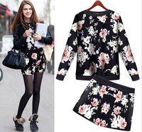 2015 Autumn And Winter Fashion Print Pullover Sweatshirt + Mini Shorts 2 Piece Set Women SKirt Top Free Shipping