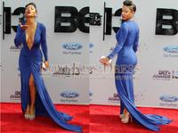 Royal Blue Spandex Deep V Neck Mermaid Long Red Carpet Celebrities Evening Dresses 2015 For Special Occasion