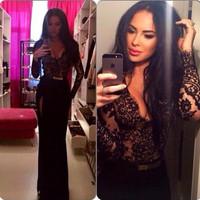 Newly Fashion 2015 Women Lady Sexy Lace Party Clubwear Long Sleeve Long Side Slit V Neck Dress