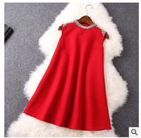 Autumn winter women short wool dress 2015 new fashion europe style sleeveless o-neck solid show thin slim tank dress F0946 HOT