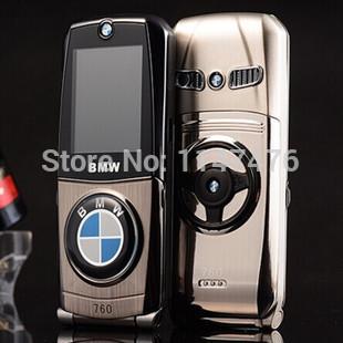 Free shipping 2014 unlocked New arrival luxury 760 metal car phone dual SIM cards Flip mini mobile phone(China (Mainland))