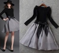 European and American fashion Slim casual dress bow belt elastic belt brief dress casual dress brand designer