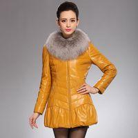 2014 genuine leather clothing female medium-long down coat large fox fur sheepskin plus size