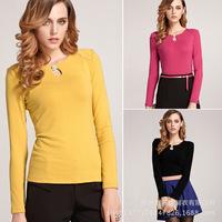 Women's Fashion Long Sleeve Autumn Winter Shirt Pure Color Warm Base shirt Tops Blouse