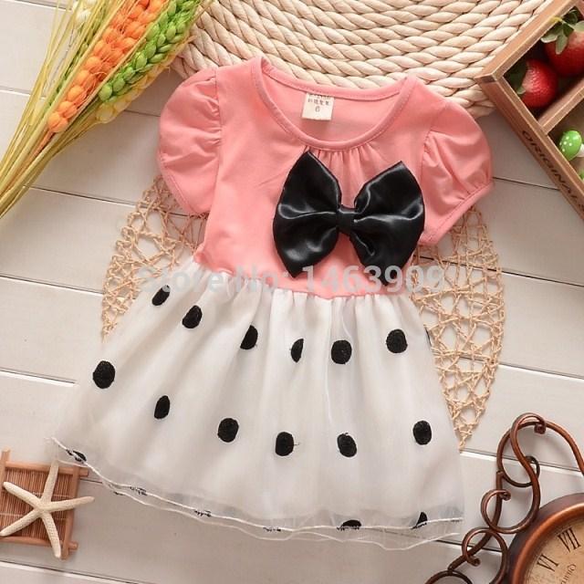 New 2015 summer girls dress dot bow lace veil princess tutu dress toddler dresses vestidos de menina girls clothes free shipping(China (Mainland))