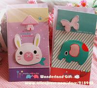 10pcs 3D cartoon greeting cards,sentimental circus/Mouton elephant/cat/Alpacasso/rabbit Alpaca lovely cards for party friends
