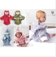 5 designs hooded animal modeling baby bathrobe cartoon baby towel character kids bath robe infant bath towels