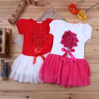 2015 New Baby Girls Dress Kids Lace Casual Tutu Dress Cute Short sleeve Children Clothing Vestido Menina Infantil Princesa