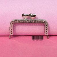 10pcs/lot  DIY 8.5cm Silver Metal Square Purse Frame kiss clasp Handle for Bag Craft bag making ,freeshippingXF18-10