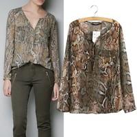 New fashion Women Wild Leopard print chiffon blouse lady sexy Long-sleeve top plus size V neck leopard blouse