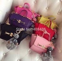 Exclusive custom 2015 trapeze tote bag women leather handbags candy color bag lock handbag cute bear decoration bolso 0541A