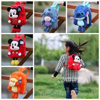 Free shipping D-I-S Plush backpacks Eeyore Tiger Mick Minnie Stitch warm stuffed animals kids school kindergarden bags gifts