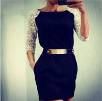 High quality  HONEY MODA new arrive black dress with white lace sleeve one-piece women's dress