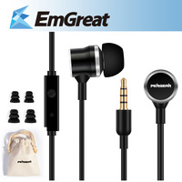 Pergear 3.5mm Metal Earphones Headphones Noise Cancelling In-Ear Headset with Mic For iPhone 6 Plus 5s Samsung MP3 MP4 Best Bass