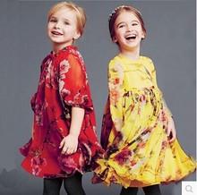2015 new spring summer European style girl flower animal print chiffon tutu princess dresses baby lace