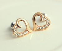 New Cute Heart Earrings Love Earrings Rhinestone Earrings For Women C