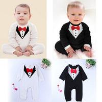Newborn set baby boy rompers Boys Climb infant Gentleman suit Cotton jumpsuits childrens apparel clothes one piece costume HB088