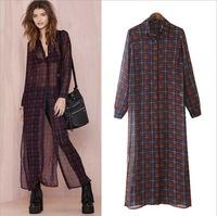 blusas femininas 2015 New   Plaid Shirt Women Blouses Long Sleeve Loose Ankle Length Long Blouse Sheer Vintage roupas femininas