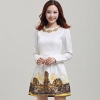 Fashion elegant dress women's print bottoming Slim waist was thin long-sleeved dress S-XL