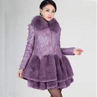 Leather clothing 2014 genuine sheepskin leather down coat medium-long female outerwear plus size women's leather clothing