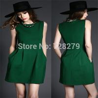 2015 Fashion Dress New Women's Dresses sleeveless Green Color Plus Size L XL