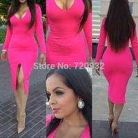 Slim V-neck Long sleeve sheath solid women dress 4color elastic Close fitting Split dresses free shipping