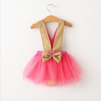 2015 Girls Suspend Bow Tutu Dresses, Kids Fashion Candy Mesh Dance Skirts 5  pcs/lot ,Wholesale