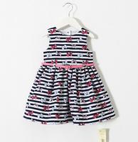 2015 Girls Bow Dazzel Dresses With Belt , Kids Cotton Summer Dress 5 pcs/lot,Wholesale