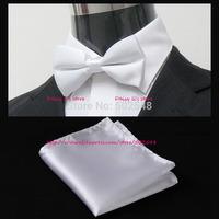 Retail Solid Men Adjustable BowTie Pocket Square Handkerchief Hanky Suit Men Accessories Free Shipping 1 pcs