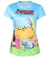 New Fashion Funny Cartoons Harajuku Adventure Time Summer Women's 3D T-shirt Printed Top Tees Cartoon Women T shirt