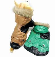 Green Khaki New Fashion FG Prints Dog Puppy Pet Warm Fur Hoodie Jacket Coats Winter Thick Windbreaker Pocket Clothes S M L XL