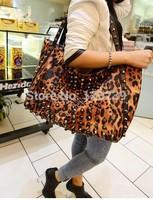 2015 RAXH Leopard Rivet Vintage women bag Fashion single-shoulder bag women handbag