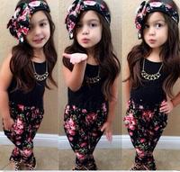 2015 newChildren girls black sleeveless shirt+floral pants+headband 3pcs clothing sets kdis baby clothes set suits 7 set/lot