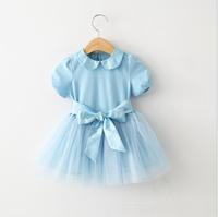 2015 Girls High Quality Solid Cotton Bow Dresses, Princess Elegant Party Dance Dress White Pink Blue  6 pcs/lot ,Wholesale