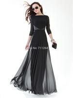 NEW WOMEN FULL SWEEP CHIFFON MAXI DRESS BLACK