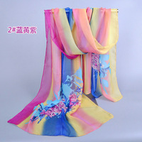 New style shawl best chiffon colorful striped scarf Fashion Scarves hot sale 160*50 10 pcs/lot Free china post shipping xq075