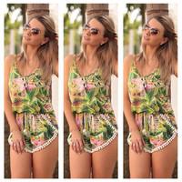 flower print sleeveless women jumpsuit macacao feminino