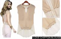 New 2015 Fashion European and American women's Sleeveless knit chiffon shirt T-shirt  tops blouses summer shirt