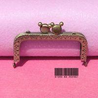 10pcs/lot  DIY 8.5cm Antique brass Metal Purse Square Frame Mickey kiss clasp Handle for Bag Craft bag make ,freeshippingXF16-10