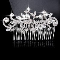 Stylish Woman Austria Crystal Wedding Tiara Handmade Rhinestone Flower Bridal Hair Combs Jewelry