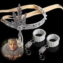 2014 Fashion Hair Accessories,The Great Gatsby DAISY Crystals Pearl Tassels Hair HoopHeadband Bracelet Set,Wedding Bridal Tiara